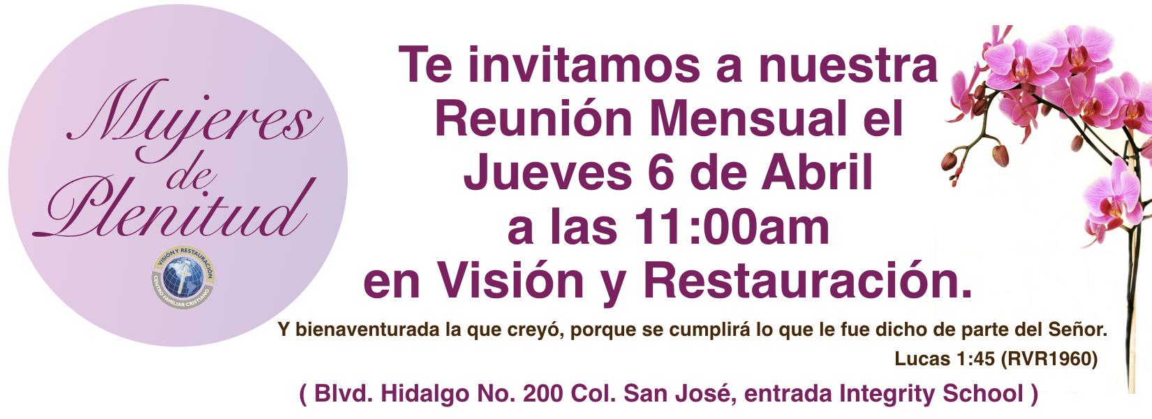 REUNIÓN MENSUAL MUJERES DE PLENITUD